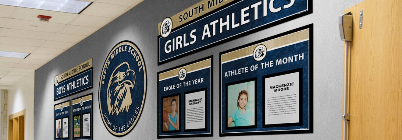School hallway with athlete of the month and athlete recognition custom signs, high school athletics signs