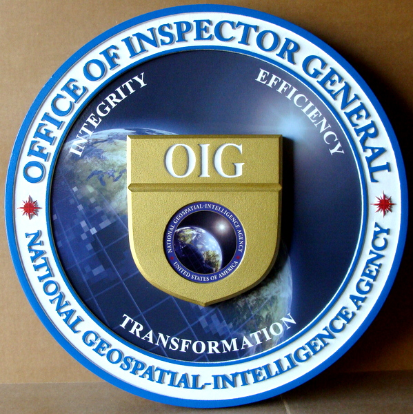 AP-3200 - Carved Plaque of the Seal of the Office of the Inspector General,   National Geospatial Intelligence Agency,  Artist Painted