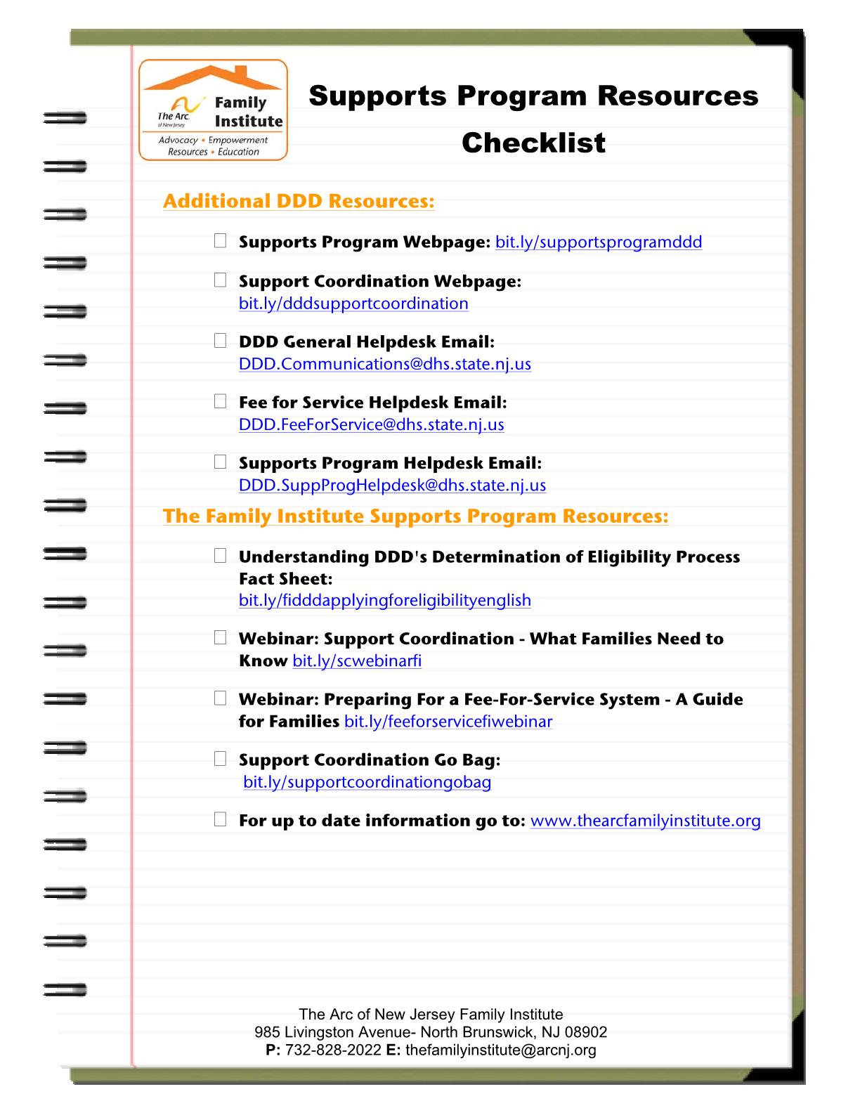 Supports Program Resources Checklist