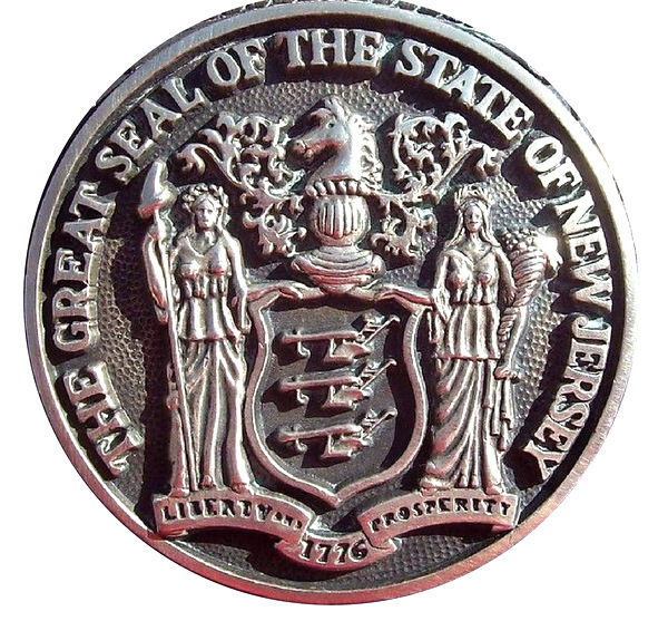 W32351 - Carved HDU 3-D Wall Plaque of the Seal for the State of New Jersey, Silver-Nickel Coated with High Polish