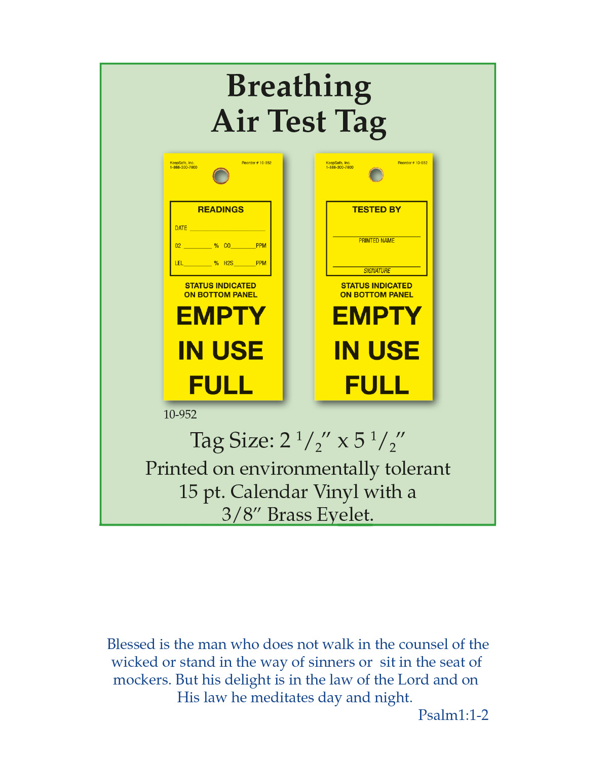 Breathing Air Test Tag