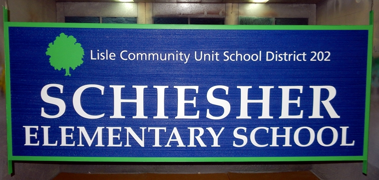 "FA15752 - Carved  and Sandblasted Wood Grain HDU Entrance Sign for the ""Schiesser Elementary School"", with Tree as Artwork"
