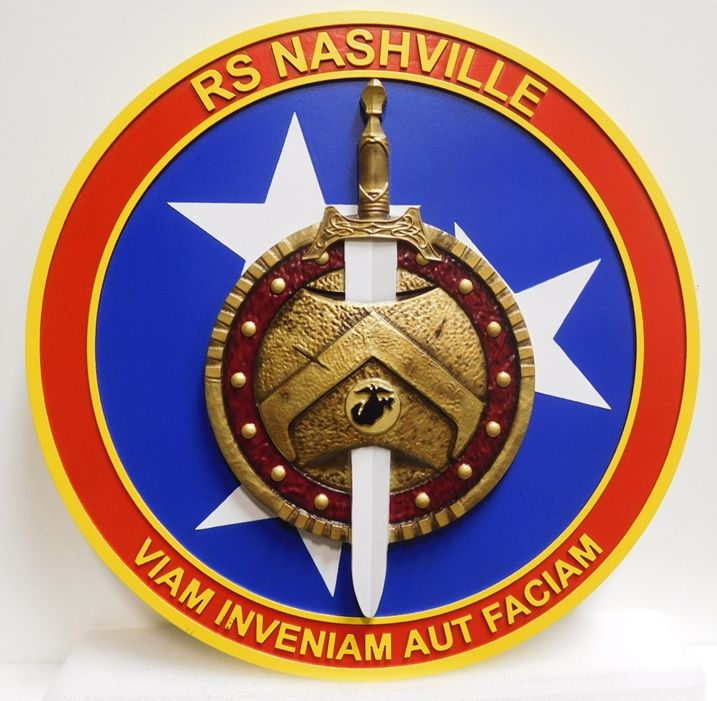 KP-2135 - Carved Plaque of the Emblem for Recruiting Station Nashville, 3-D Artist Painted