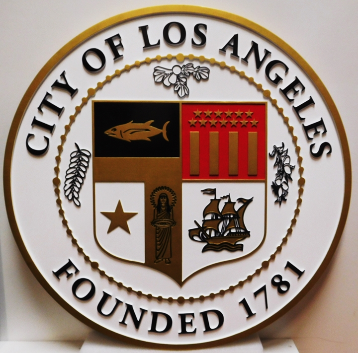 DP-1630- Carved Plaque of the Seal of the City of Los Angeles , 2.5-D Raised Relief, Artist-Painted