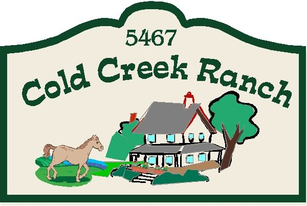 O24816 - Design for Ranch Address Sign with Farmhouse and Horse