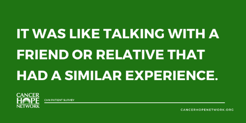 It was like talking with a friend or relative that had a similar experience ~ Patient Survey