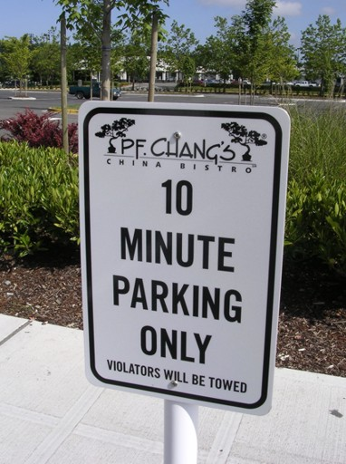 P.F. Changs Parking Signs
