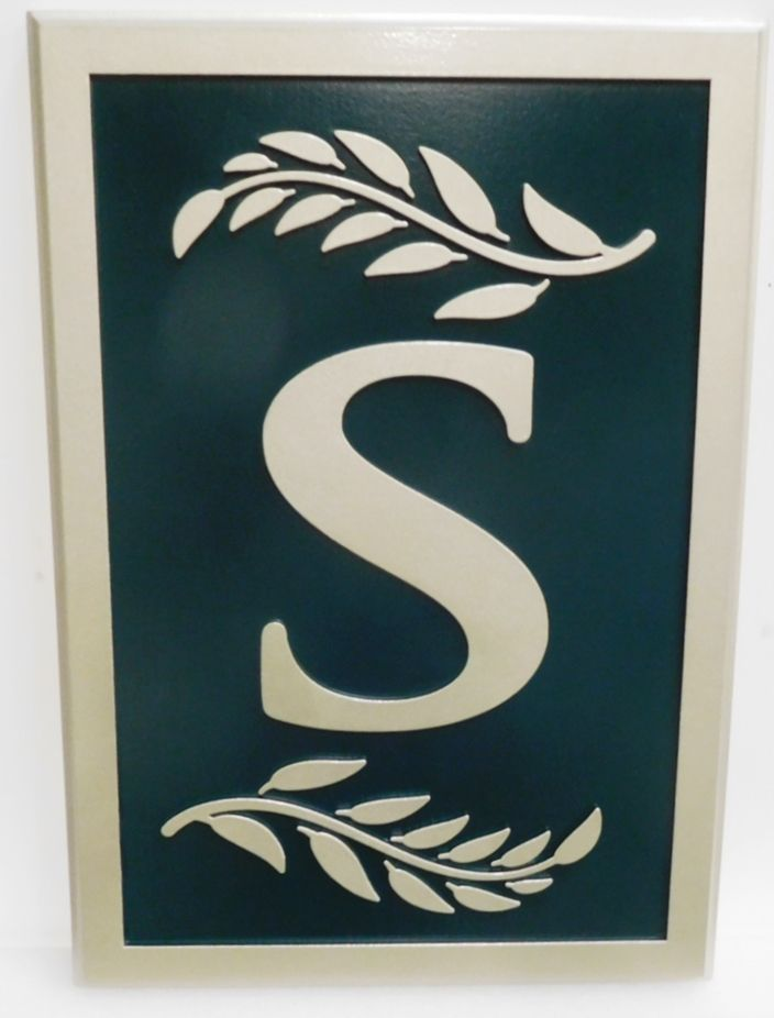 """YP-1220 - Carved 2.5-D HDU Plaque Featuring a Monogram """"S"""" and Branches"""