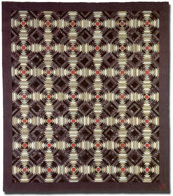 Black Pineapple, made by Carol Jane Shaffer Dunklau, Made in Lincoln, Nebraska, United States, dated 1982, 106 x 93 in, IQSCM 2005.003.0001