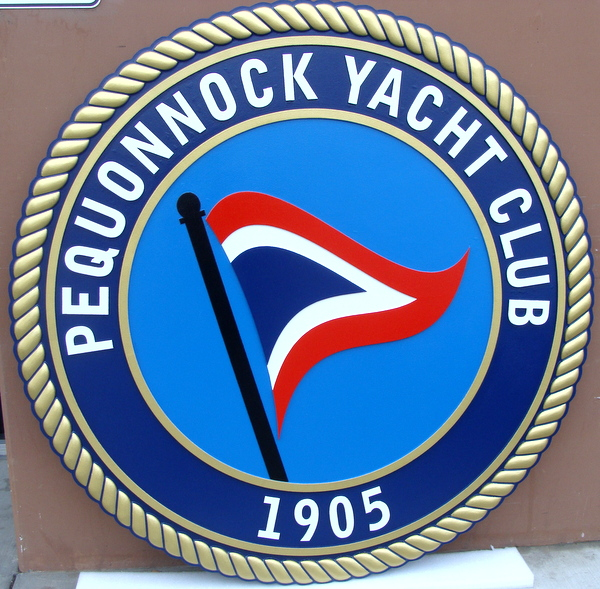 L21995 - Carved Wall Plaque for Pequonnock Yacht Club, with Burgee and Rope Border