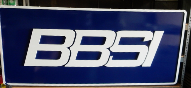 "S28088 - Carved Sign for ""BBSI"" Company,  with Bold Outline Letters"