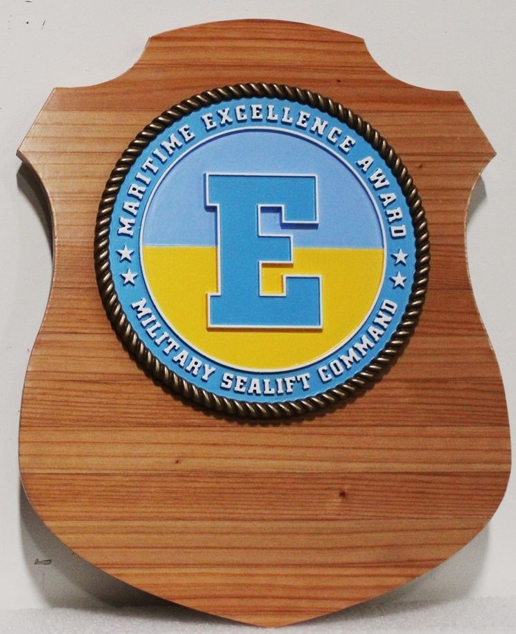 JP-1246 - Carved 2.5-D HDU and Mahogany Plaque for Maritime Excellence Award for the Military Sealift Command