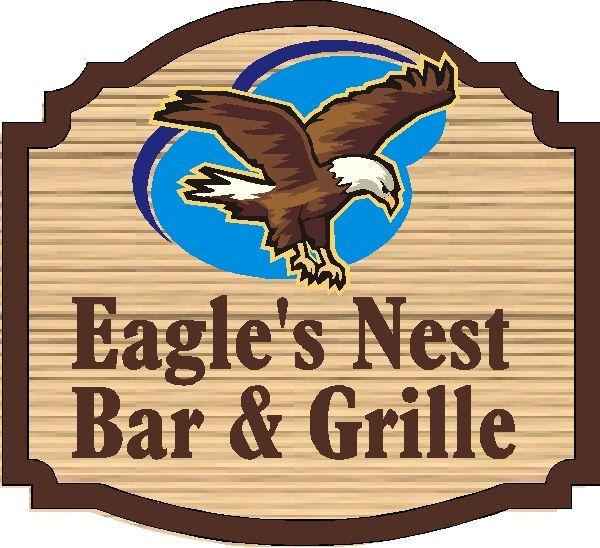 Q25725 - Design of Carved, Wood Look Sign for Eagle's Nest bar and Grill with Carved Soaring Eagle