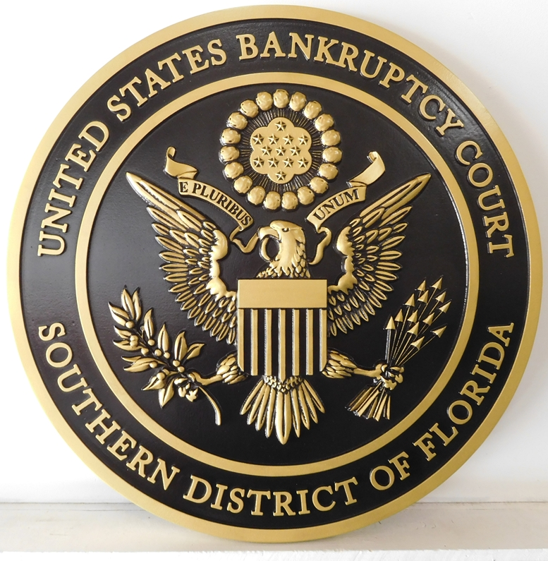 U30134 - Gold and Hand-Rubbed Black Painted Wall Plaque of the Seal of the US Bankruptcy Court, Southern District of Florida,
