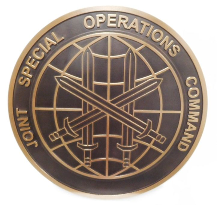 LP-3612 - Carved Plaque of the Crest of the Joint Special Operations Command, 2.5-D Bronze-plated