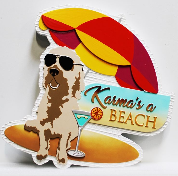 L21069 - Carved Beach House Sign, with a Dog with Sunglasses, a Drink and Surfboard under an Umbrella as Artwork