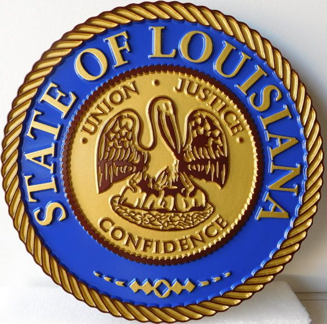 BP-1240- Carved Plaque of the Great Seal of the State of Louisiana, Artist Painted