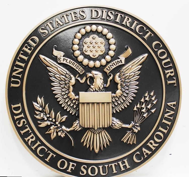 FP-1388 - Carved 3-D Brass-Plated HDU Plaque of the Seal of the United States District Court, District of South Carolina