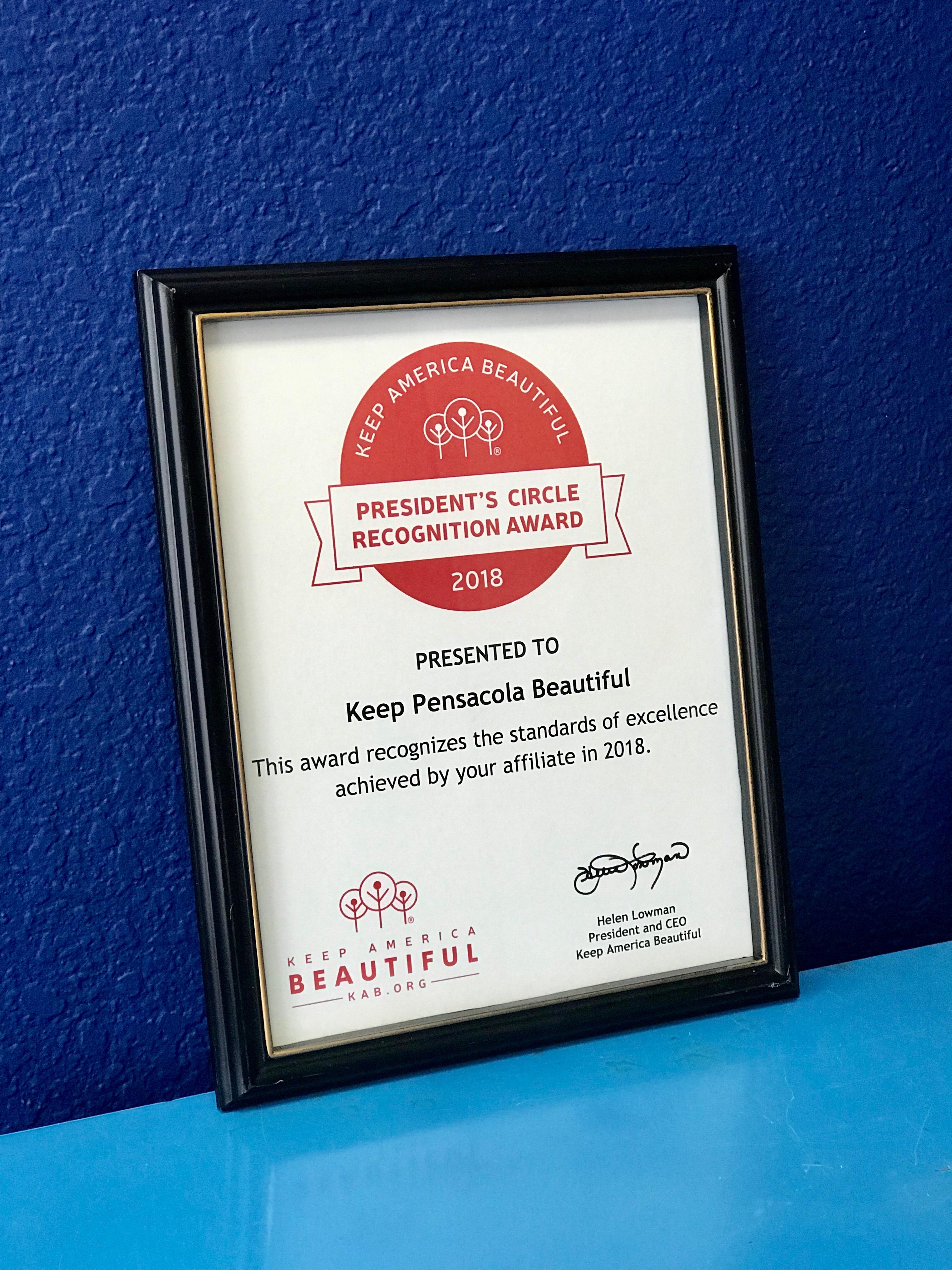 Keep Pensacola Beautiful Earns Keep America Beautiful  President's Circle Award Recognition