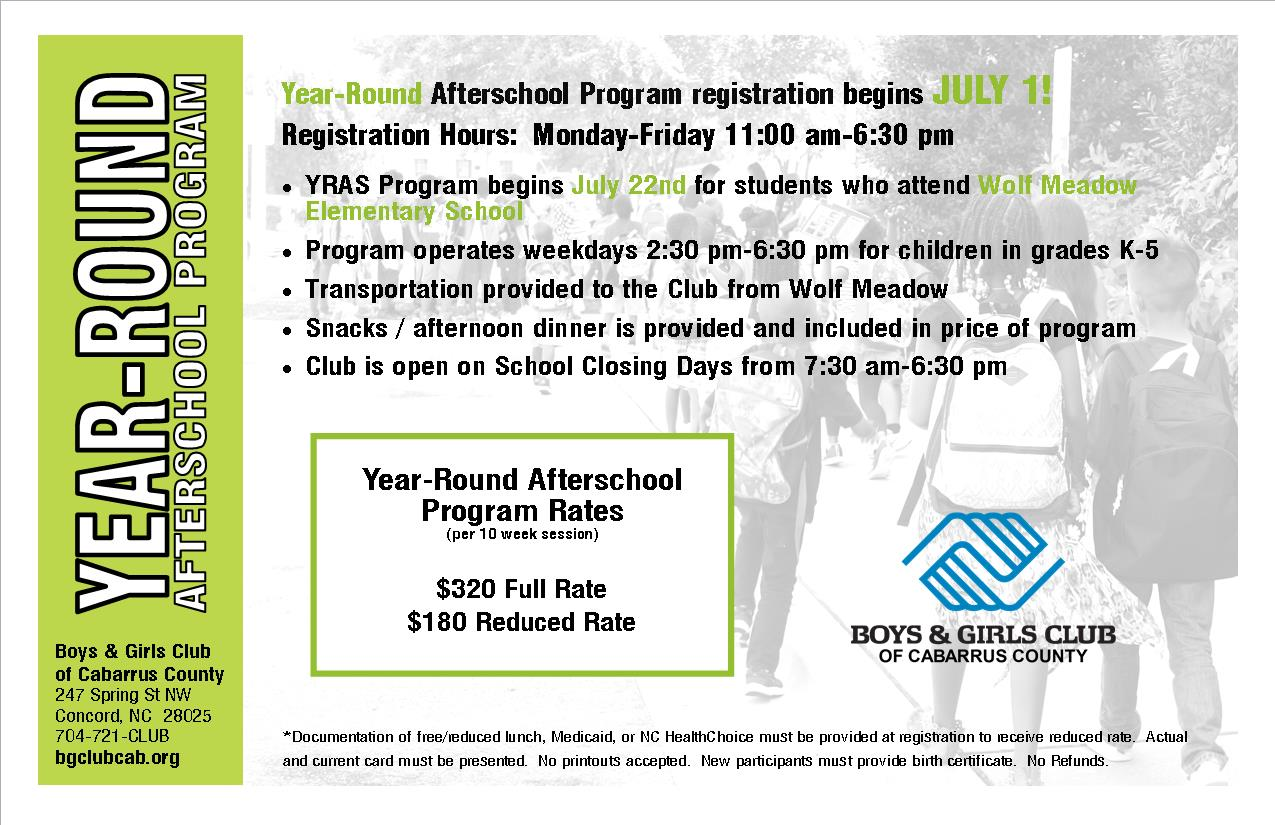 2019-20 Year-Round Afterschool Program - $320 full rate / $180 reduced rate* (per quarter)