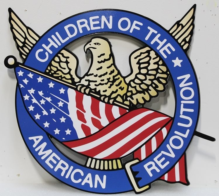 "UP-2165 - Engraved HDU Plaque of the Seal of the ""Children of the American Revolution"", with Eagle and US Flag"