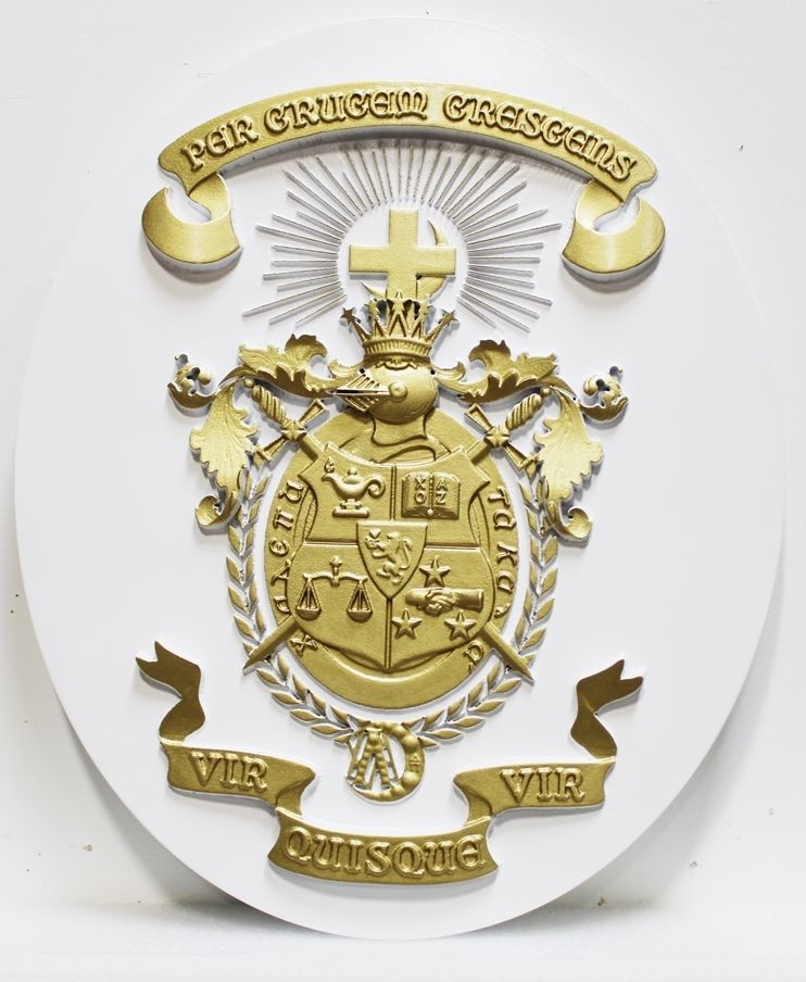X34503- Carved 3-D Bas-relief HDU Wall Plaque for Lambda Chi Alpha Coat-of-Arms