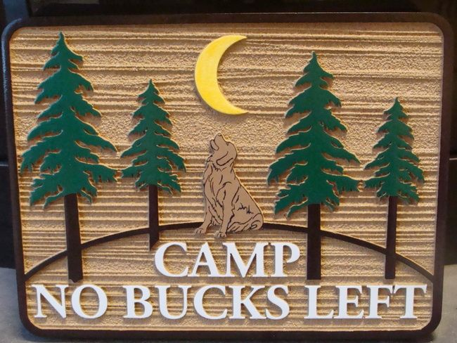 M22057 - Wooden Cabin Sign with Fir Trees and a Howling Dog