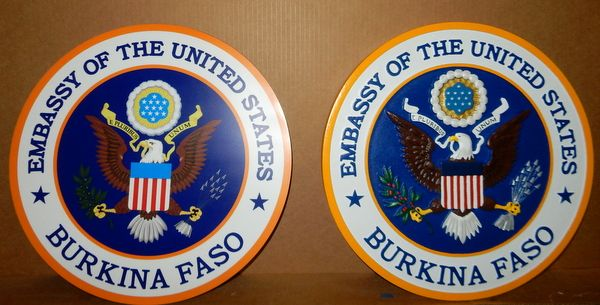 U30329 -  Acrylic 2.5-D Wall Plaques of Great Seal of the US for the US Embassy in Burkina, Faso.