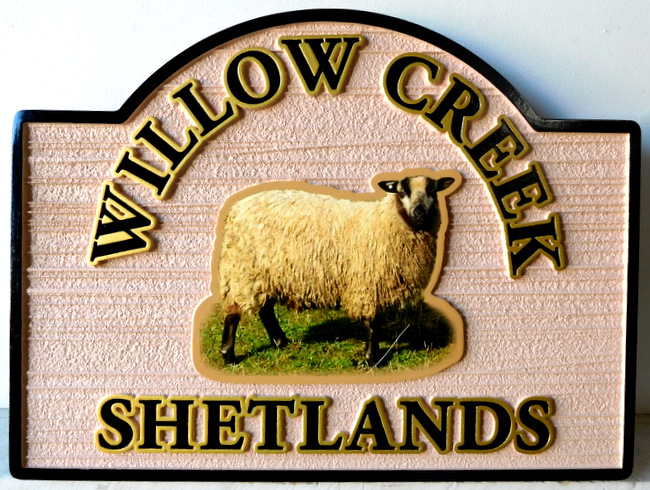 O24421 - Sign Featuring  a Photo of a Sheep and Carved Raised Text and Border, and Sandblasted Background.