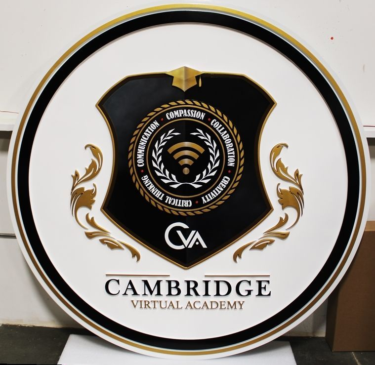 TP-1115 - Carved 2.5-D HDU Plaque of the Seal of the Cambridge Virtual Academy