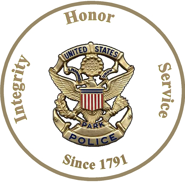U30440 - Carved US Park Police Badge on Round Wooden Plaque