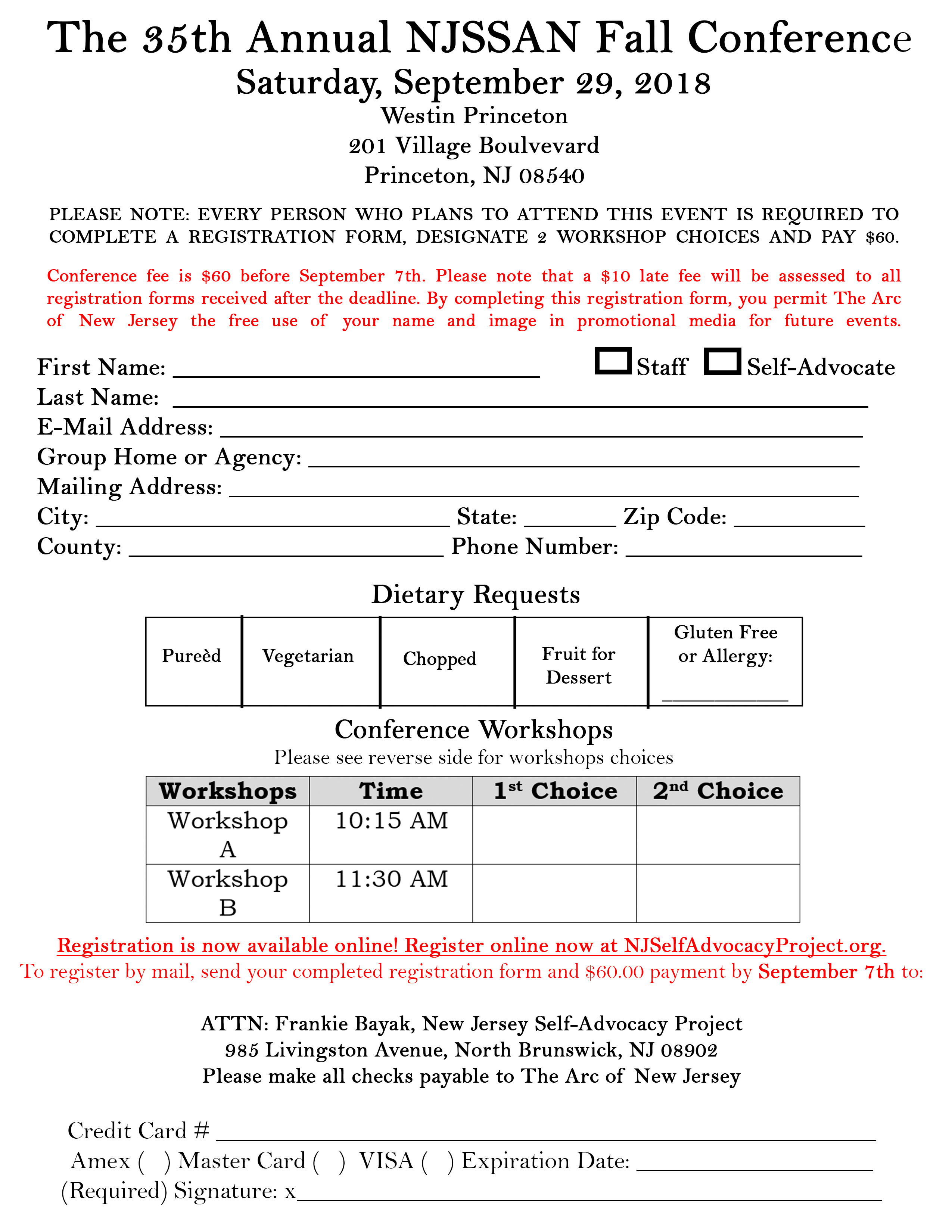 Fall Conference Registration Form 2018
