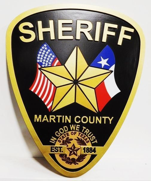 PP-2042- Carved Plaque of the Shoulder Patch of the Police of Martin County, Texas ,  2.5D Multi-color Artist Painted