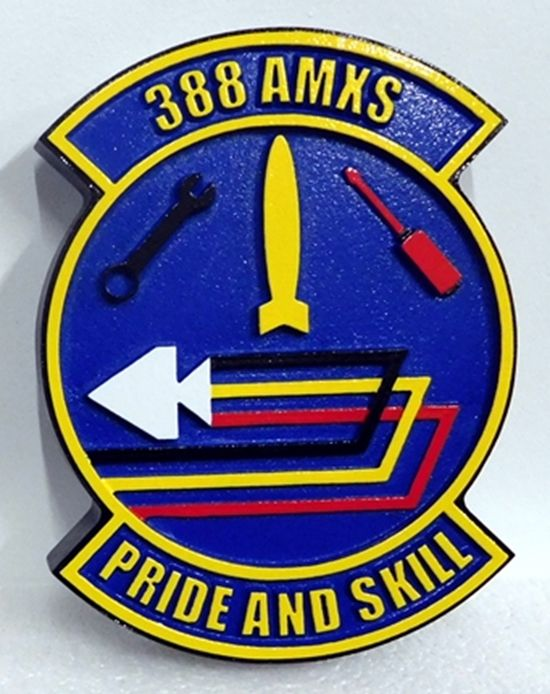 """LP-2295 - Carved Round Plaque of the Crest of the Air Force 388 AMKS, """" Pride and Skill"""",  Artist Painted"""