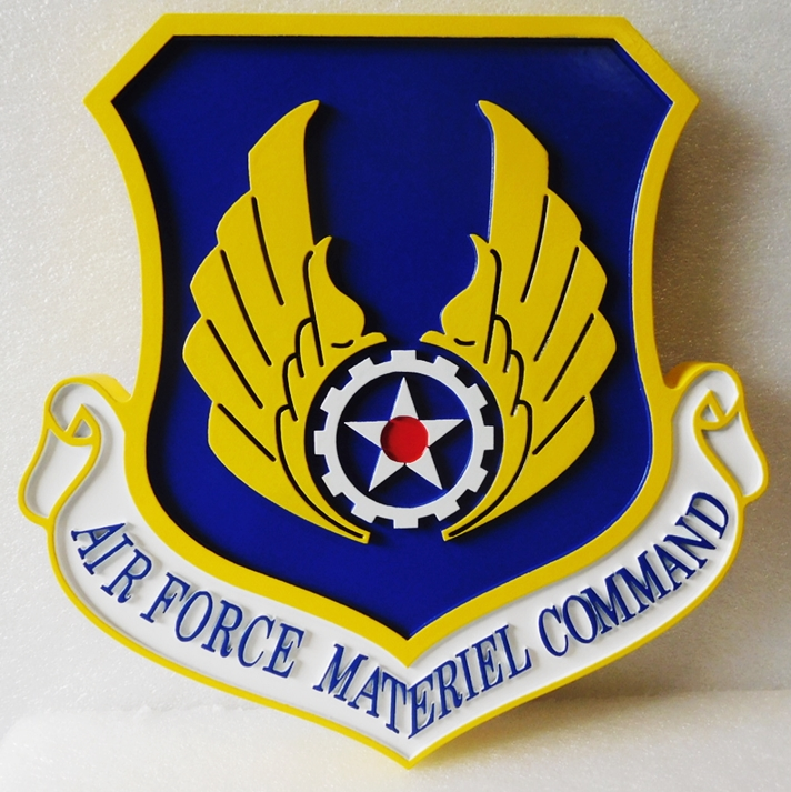 LP-1597- Carved Shield Plaque of the Crest of the  Air Force Materiel Command, 2.5-D Artist Painted