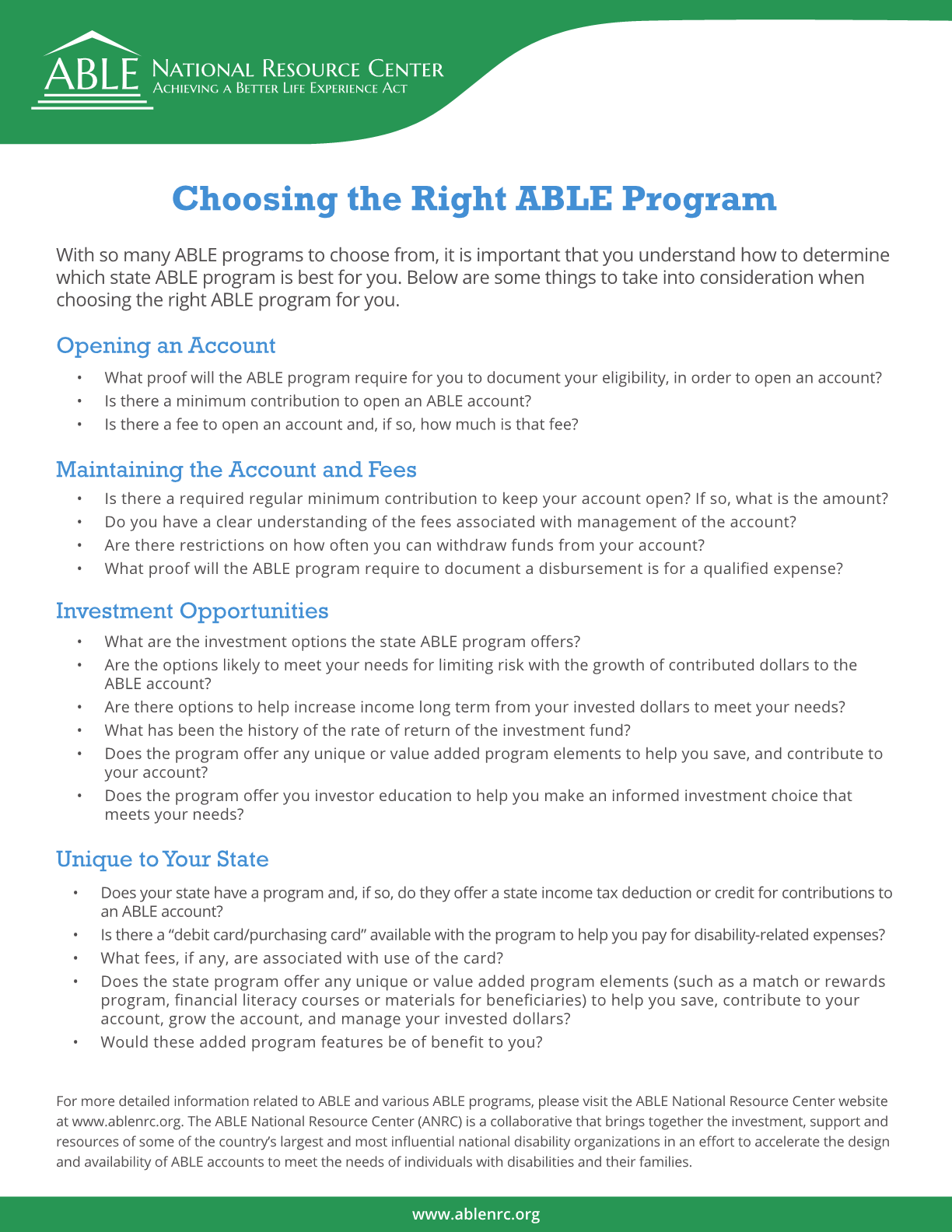 Choosing the Right ABLE Program