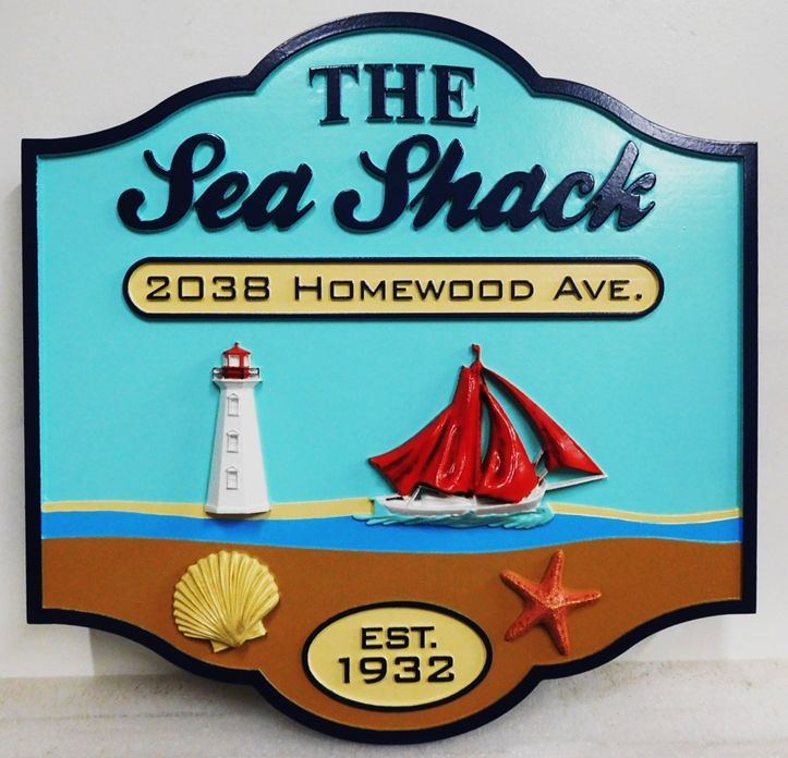 "L21318 - Coastal Home Name and Address  Sign , ""The Sea Shack"",with, a Lighthouse,  Sailboat,  Seashell, and  Starfish  as 3D Artwork"