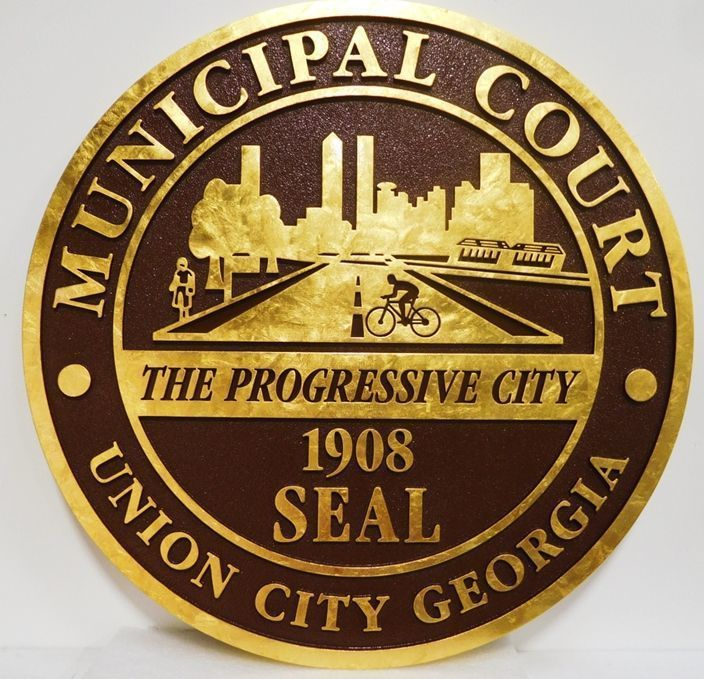 X33234 - Carved Gold-Leaf Gilded Plaque of the Seal of theMunicipal Court of the City of Union City, Georgia