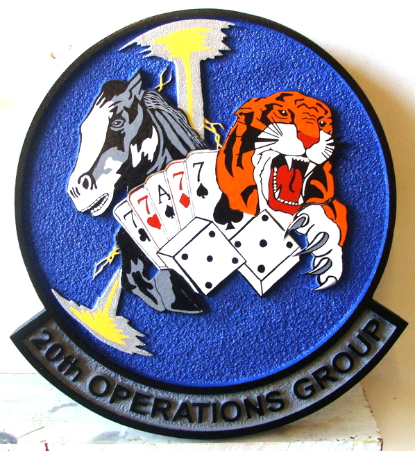 LP-3760 - Carved Round Plaque of the Crest of the 20th Operations Group, Artist Painted