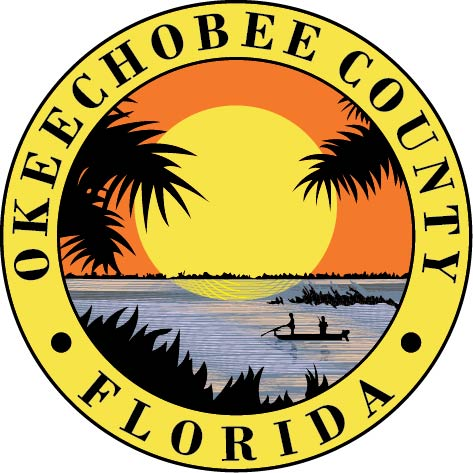 CP-1390 - Carved Plaque of the Seal of  Okeechobee County, Florida,   Artist Painted