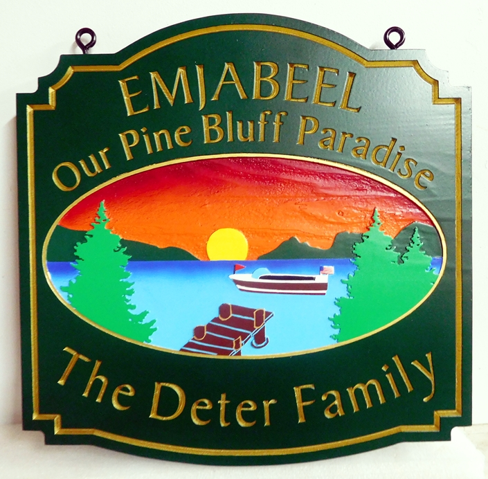 "M22313 - Property Name and Address Sign ""Embjabeel""  for Lakeside Home ""Sanctuary"" with Lake, Dock, Mountains, Trees and Setting Sun"