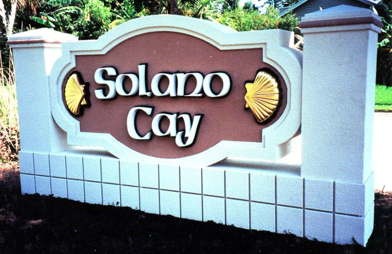"""L21922 - Seaside Condo Monument Entrance Sign """"solano Cay"""""""