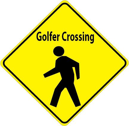 E14551 - Golfer Crossing Sign