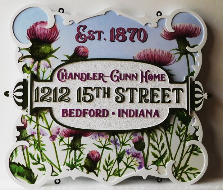 I18247 - Elegant Carved High-Density-Urethane (HDU)  Address and Property Name Sign for the Chandler-Gunn Home, with Thistle Artwork as a Giclee Vinyl Print.
