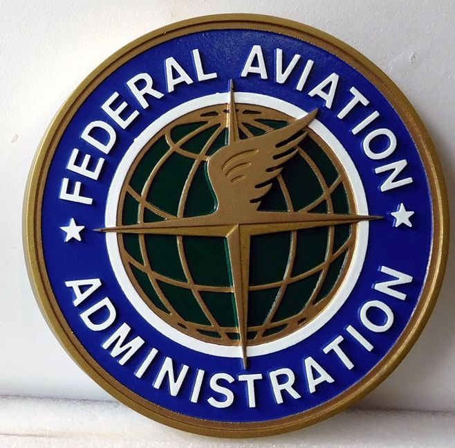 AP-6090 - Carved Plaque of the Seal of the Federal Aeronautics Administration (FAA), Artist Painted