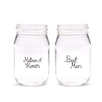 Wedding Party Drinking Jars - Matron of Honor & Best Man