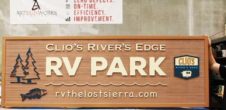G16301 - Carved and Sandblasted Wood Grain   2.5-D Sign for Clio's Rivers Edge RV Park, with Trees, Fish and Logo as Artwork