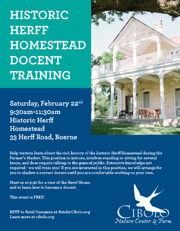 FARM: Historic Herff Homestead Docent Training