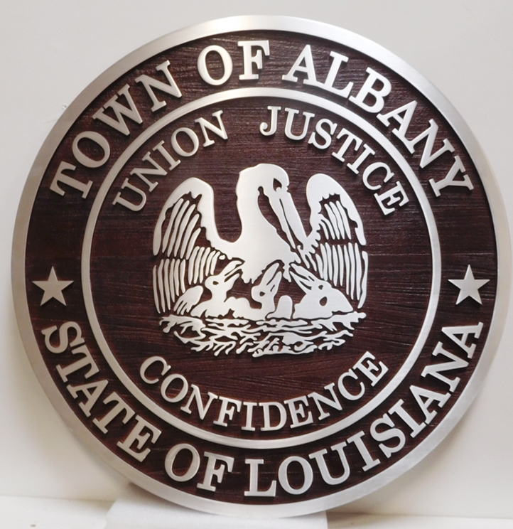 DP-1010 - Carved Wall Plaque of the Seal of the City of Albany, Louisiana, 2.5-D Redwood with Aluminum Cladding.