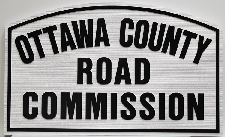 F15562 - Carved 2.5-D and Sandblasted Wood Grain HDU Entrance Sign for the Ottawa County Road Commission